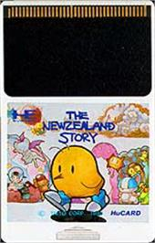 Cartridge artwork for The New Zealand Story on the NEC PC Engine.