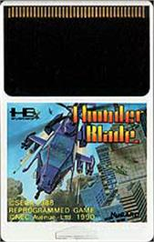 Cartridge artwork for ThunderBlade on the NEC PC Engine.