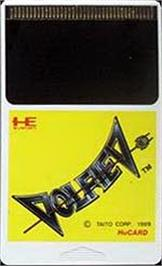 Cartridge artwork for Volfied on the NEC PC Engine.