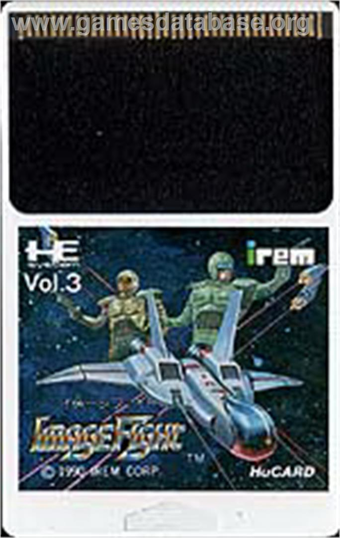 Cartridge artwork for Image Fight on the NEC PC Engine.