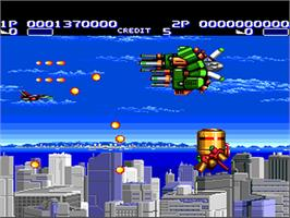 In game image of Air Buster on the NEC PC Engine.