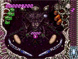 In game image of Alien Crush on the NEC PC Engine.