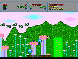 In game image of Fantasy Zone on the NEC PC Engine.