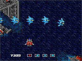 In game image of Image Fight on the NEC PC Engine.