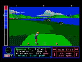 In game image of Jack Nicklaus' Greatest 18 Holes of Major Championship Golf on the NEC PC Engine.