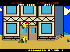 In game image of Pac-Land on the NEC PC Engine.