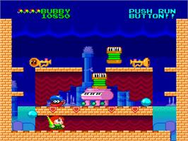 In game image of Parasol Stars: The Story of Bubble Bobble III on the NEC PC Engine.