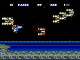 In game image of Side Arms Hyper Dyne on the NEC PC Engine.