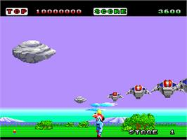 In game image of Space Harrier on the NEC PC Engine.