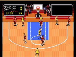 In game image of TV Sports: Basketball on the NEC PC Engine.