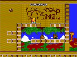 In game image of The New Zealand Story on the NEC PC Engine.