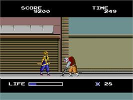 In game image of The Ninja Warriors on the NEC PC Engine.