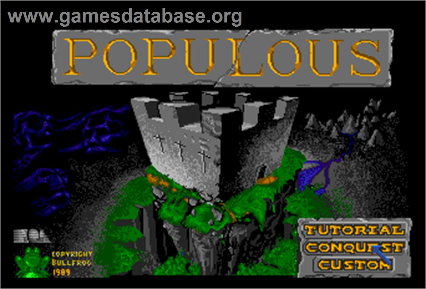 In game image of Populous on the NEC PC Engine.
