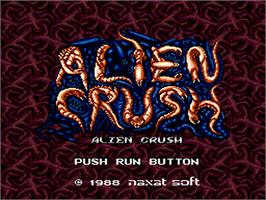 Title screen of Alien Crush on the NEC PC Engine.