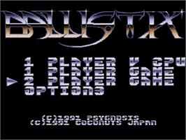 Title screen of Ballistix on the NEC PC Engine.