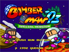 Title screen of Bomberman '93 on the NEC PC Engine.