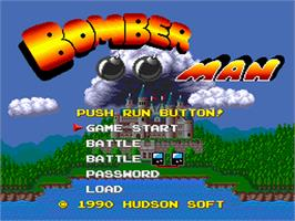Title screen of Bomberman on the NEC PC Engine.