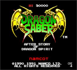 Title screen of Dragon Saber: After Story of Dragon Spirit on the NEC PC Engine.
