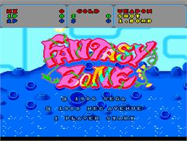Title screen of Fantasy Zone on the NEC PC Engine.