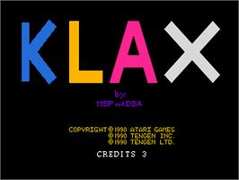 Title screen of Klax on the NEC PC Engine.