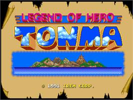 Title screen of Legend of Hero Tonma on the NEC PC Engine.