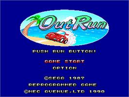 Title screen of OutRun on the NEC PC Engine.