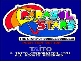 Title screen of Parasol Stars: The Story of Bubble Bobble III on the NEC PC Engine.