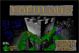 Title screen of Populous on the NEC PC Engine.