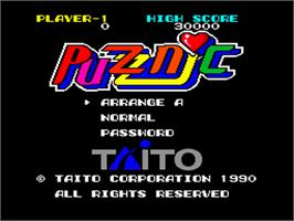 Title screen of Puzznic on the NEC PC Engine.