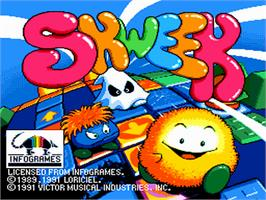 Title screen of Skweek on the NEC PC Engine.