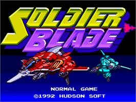 Title screen of Soldier Blade on the NEC PC Engine.