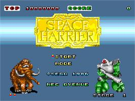 Title screen of Space Harrier on the NEC PC Engine.