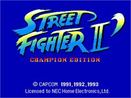 Title screen of Street Fighter II': Special Champion Edition on the NEC PC Engine.