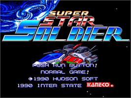 Title screen of Super Star Soldier on the NEC PC Engine.