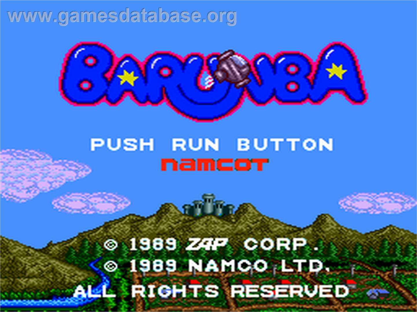 Title screen of Barunba on the NEC PC Engine.