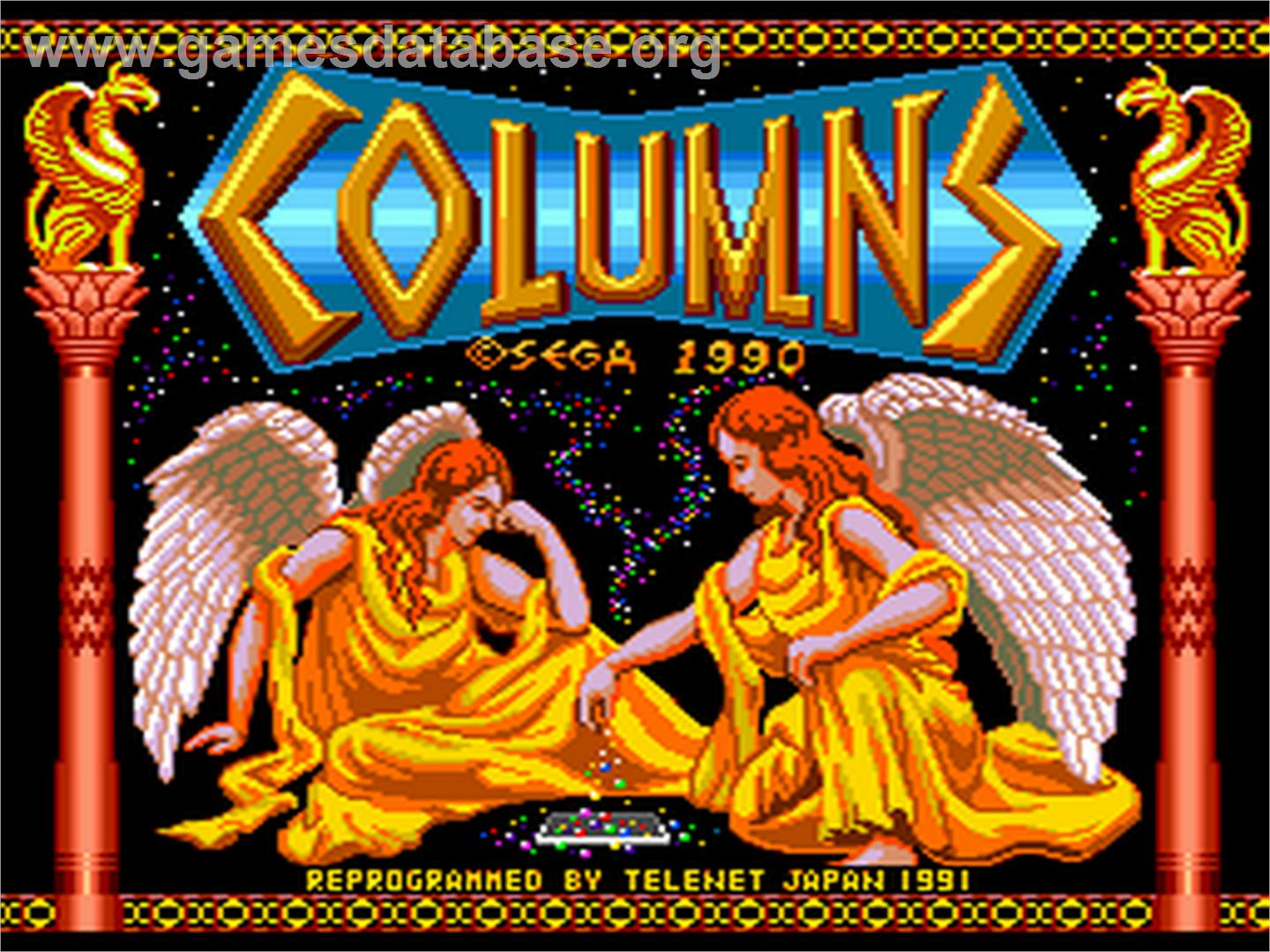 Title screen of Columns on the NEC PC Engine.