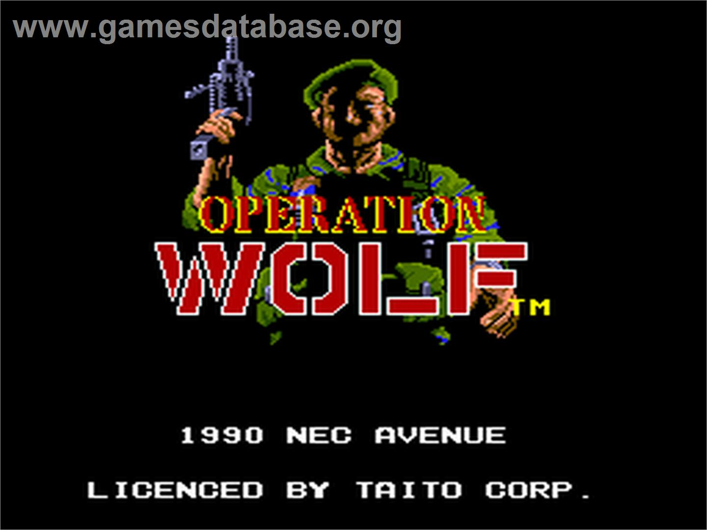Title screen of Operation Wolf on the NEC PC Engine.