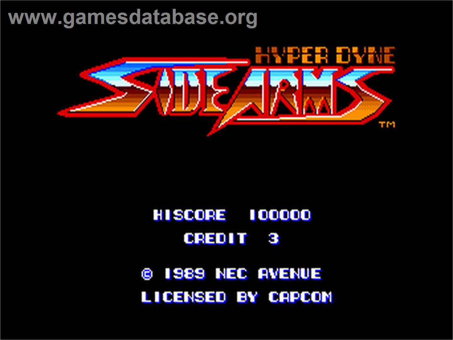Title screen of Side Arms Hyper Dyne on the NEC PC Engine.