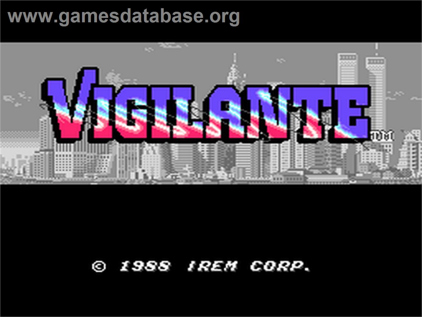 Title screen of Vigilante on the NEC PC Engine.