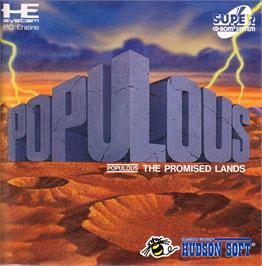 Box cover for Populous: The Promised Lands on the NEC PC Engine CD.