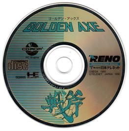 Artwork on the CD for Golden Axe on the NEC PC Engine CD.