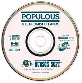 Artwork on the CD for Populous: The Promised Lands on the NEC PC Engine CD.