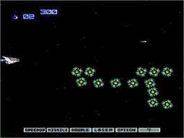 In game image of Gradius II - GOFER no Yabou on the NEC PC Engine CD.