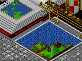 In game image of Populous: The Promised Lands on the NEC PC Engine CD.