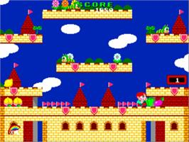 In game image of Rainbow Islands on the NEC PC Engine CD.