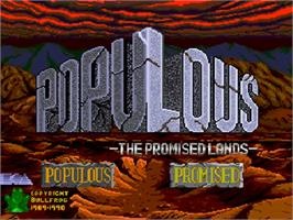 Title screen of Populous: The Promised Lands on the NEC PC Engine CD.
