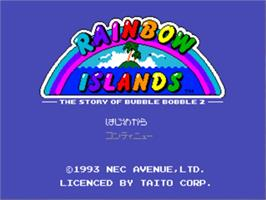 Title screen of Rainbow Islands on the NEC PC Engine CD.