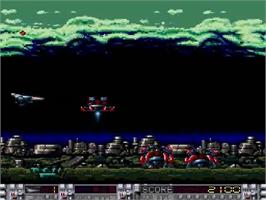 In game image of Aldynes on the NEC SuperGrafx.