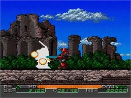 In game image of Mado King Granzort on the NEC SuperGrafx.