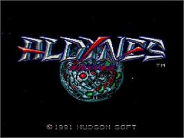 Title screen of Aldynes on the NEC SuperGrafx.